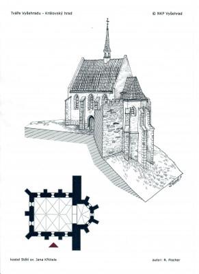 Kostel Stětí sv. Jana Křtitele / kresební rekonstrukce gotické stavby