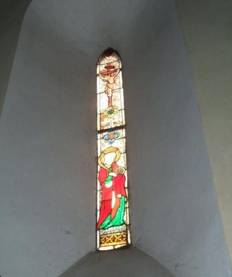 vitráž - Ukřižovaný a sv. Kateřina